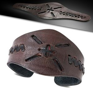 Genuine Brown Leather Cut-out Criss-Cross